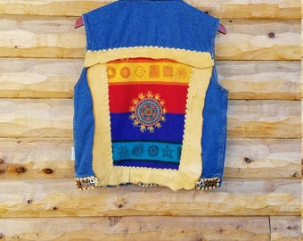 One World One People ~ Circle of Hands ~ World Peace Vest ~ Custom Handmade One of a Kind