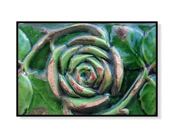 Rustic wall art, mosaic tile print, wall art print, green home decor, Gaudi, Barcelona print