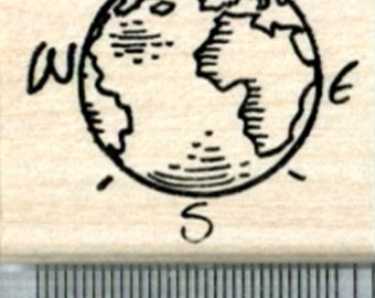 Globe Rubber Stamp, Marked with Cardinal Directions D33607 Wood Mounted