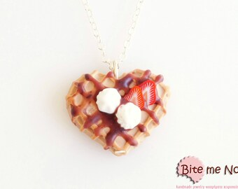 Waffle with Strawberries and Whipped Cream Necklace, Mini Waffle, Waffle Jewelry, Waffle Necklace, Food Jewelry