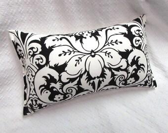black white damask Lumbar Pillow 10x19 decorative throw toss accent