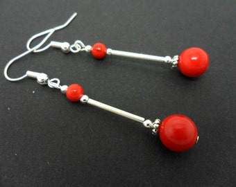 A pair of pretty red coral bead  dangly  earrings.