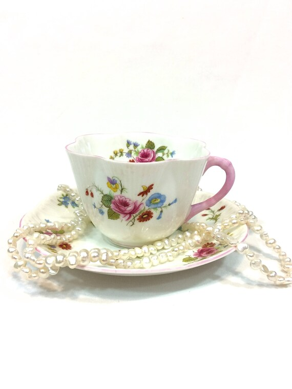 Shelley Dainty Tea Cup Saucer, English Bone China, Roses & Red Daisy, Violets Flowers, Pink Handle Rims, Cottage Shabby Chic, Vintage Teacup