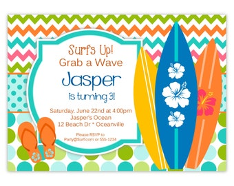 Surf Invitation - Turquoise, Lime and Orange Chevron and Polka Dots, Surfboards Personalized Birthday Party Invite - Digital Printable File