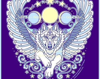 Angel Winged White Wolf Tee