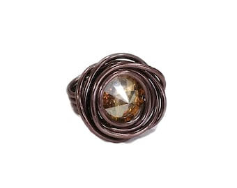 Brown BRONZE SWAROVSKI RING champagne gold Golden-allergy