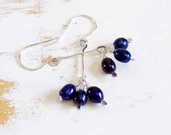 Blue Pearl Drop Earrings in Sterling Silver, Lightweight Pearl Dangle Earrings, Dainty Jewellery