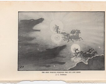 1925 SUN & MOON grey wolves pursuing the sun and moon print original vintage astronomy celestial lithograph