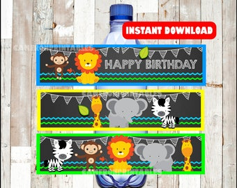 Safari Animal water labels instant download , Jungle Animal water bottle labels, Printable Zoo party water label
