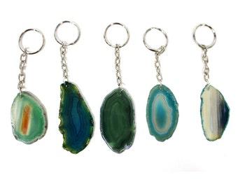Green Agate -- Agate Keychain- Natural Agate Druzy Drusy Keychain (RK8B11-04)