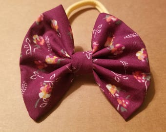 Winter Floral Hair Bow