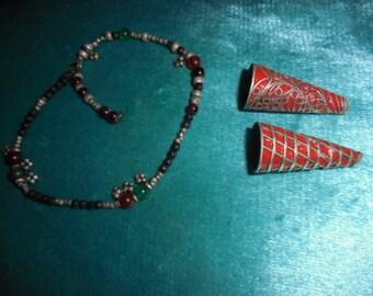 Moroccan Jewelry, Saharan/Tuareg lot 2 cone silver beads, enameled, silver, gem wrist strand