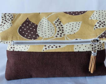 Fold Over Clutch - 'Leaves'