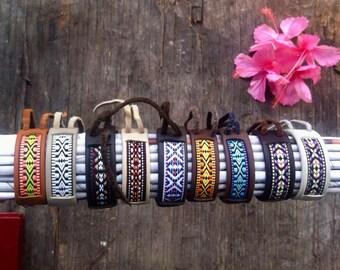 Handmade leather bracelet - Oaxaca