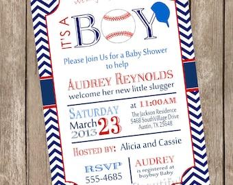 Chevron it's a boy baseball baby shower invitation, red, blue, baseball, printable invitation  baseball1