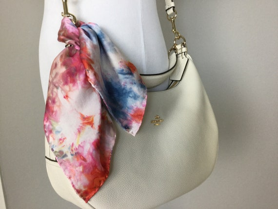 "Purse Scarf or Luggage Identifier, 100% Silk, Ice Dyed Orange Red Blue 16"" Square, #202"