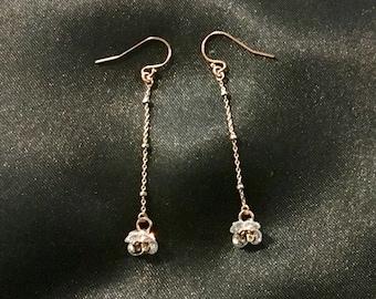 Rose Gold Floating Flower Earrings