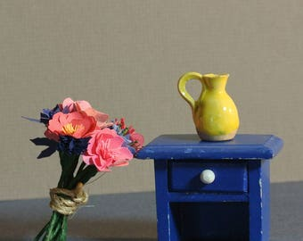 miniature paper flower bouquet pink peonies and blue