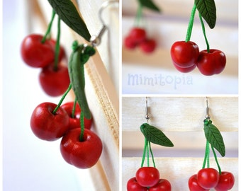 Cherry earrings,Cherry jewelry,Polymer clay jewelry,Polymer clay cherry earrings