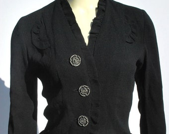 On sale Vintage 40's crape rayon blouse hand carved rose buttons dress blouse top Sm by thekaliman