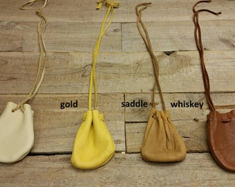 Deerskin leather pouch/ Medicine Bag, soft and supple C-10 Natural Colors