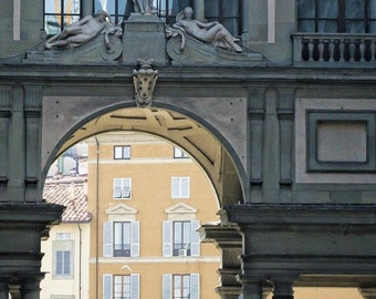 Wandering through Uffizi Gallery Courtyard - Tuscany, Italy - Fine art travel photography - grey, ivory, apricot