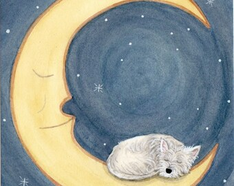 West highland terrier (westie) sleeping on moon / Lynch signed folk art print
