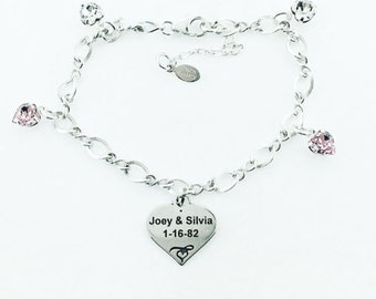 Customizable Heart Charm Bracelet