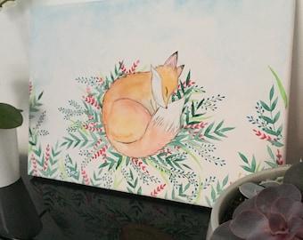 Sleeping Fox - original watercolor