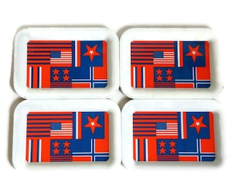 Patriotic Decor, Vintage Tip Trays, American Flags, Red White Blue, Ohio Art, NOS Tin Trays, 4th of July