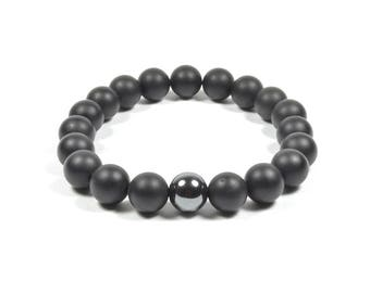 10 mm Frosted Onyx and Hematite Bracelet