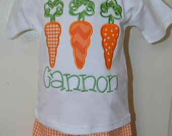 Personalized Easter Carrots Applique Shirt or Bodysuit Girl or Boy