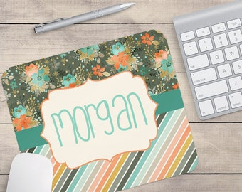 Coral Mouse Pad, Grey Mouse Pad, Mint Mouse Pad, Monogram Mouse Pad, Name On Mouse Pad, Custom Mouse Pad, Flower Mouse Pad (0008)