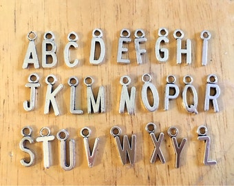 Your Choice! Silver Letter Charms, wine charms, charms for jewery making, silver charms, alphabet charms, name jewelry, monogram jewelry