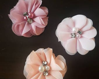 Set of 3 chiffon flower hair clips with rhinestone and pearl center