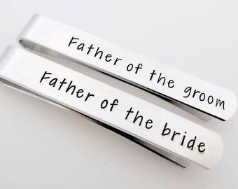 Personalized Hand Stamped Tie Clip Wedding Gift Father of The Bride OR Father of the Groom Tie bar Gift for Inlaw engagement announcement