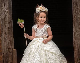 Flower girl dress, ivory lace flower girl tutu dress