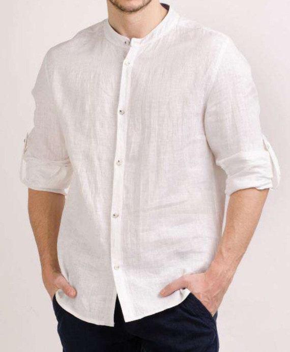 Men white color linen shirt t-shirt top short sleeve beach party summer relaxed shirt FkeziPGJ0t
