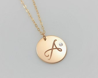 Personalized Charm Necklace, Large Circle Monogram Necklace, Crystal Diamond Necklace, Initial Disc Necklace, Long Gold Pendant Necklace