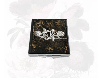 Art Nouveau Flower Metal Pill Box Inlaid in Hand Painted Enamel Black with Gold Swirl Design Square Medicine Case with Personalized Options