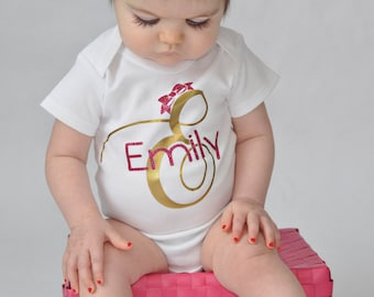 Monogrammed newborn girl name bodysuit - newborn girl gown - Baby girl shower gift - baby girl take home outfit - personalized name gift