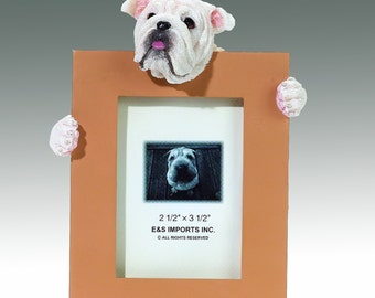 Bulldog Picture Frame makes a Perfect gift for Bulldog Lovers- Hand Painted Holds a 2 1/2 x 3 1/5 Picture