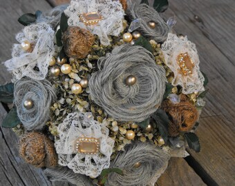 Burlap and Lace Bridal Bouquet with Grey and Gold Accents