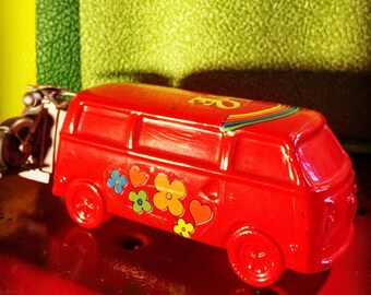 Collectible Avon VW Love Bus with Motorcycle on the bumper. Summer of love memorabilia . Super groovy