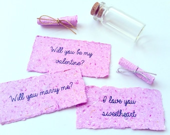 PERSONALISED Message In A Bottle - Paper Anniversary Gift - First Wedding Anniversary Gift - Valentines Day Gift - 1st Anniversary