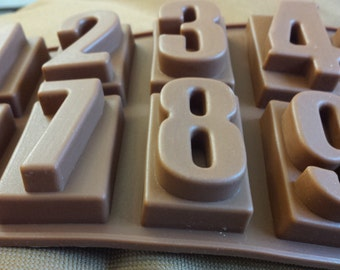 Number mold - fondant mold - chocolate mold - gum-paste mold - cake mold - polymer clay mold - resin mold - 120-001