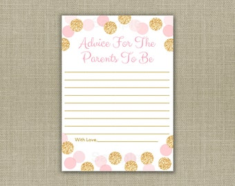Glitter Mommy Advice Cards / Glitter Baby Shower / Blush Pink & Gold / Glitter Dots / Baby Girl Shower / INSTANT DOWNLOAD A225