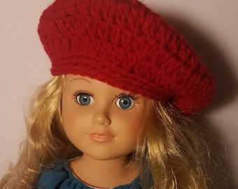 """Adorable red beret.for 18"""" and American Girl doll"""