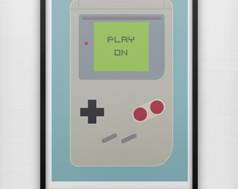 Play On Art Print Game Boy Nintendo Handheld DS Mario Retro Minimalist Video Game Console Graphic Poster Home