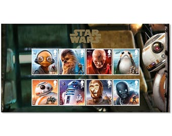 STAR WARS™ Characters Stamp Set - Issued 12 October 2017 - Featuring 8 Different Star Wars Characters on a Stunning Presentation Card